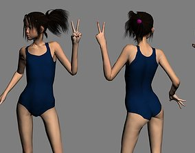 3D asset Akari schoolgirl