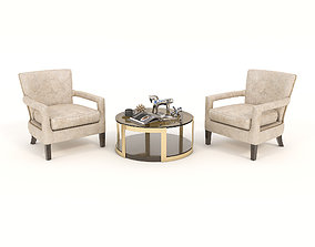 3D model Coffee Table and Chairs 2