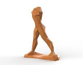 low poly sculpture art walking 3D print model