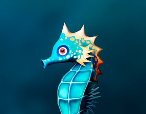 Seahorse low poly 3D model