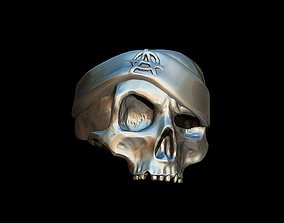 Realistic Skull with hat Ring 3D print model