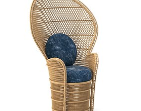 Outdoor Cane Highback Chair 3D