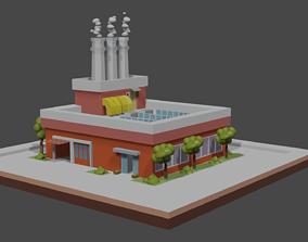 Factory smoke 3D asset game-ready