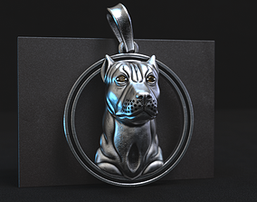 3D print model pit bull pendant with stones