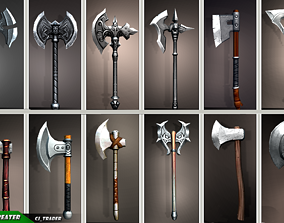 Fantasy Axe Collection Pack Low-Poly 3D Model fantasy
