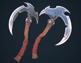 3D asset Stylized single-handed scythe weapon