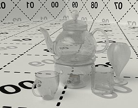 3D model Glass teapot with cup