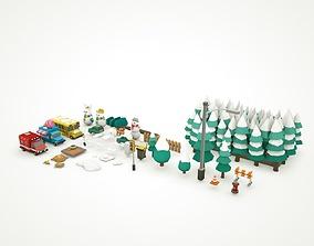 3D model Simple Poly Winter Wonderland Lowpoly