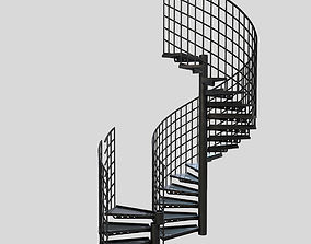 3D model Low Poly PBR Modular Spiral Staircase