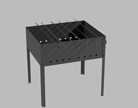 3D model Brazier and skewers