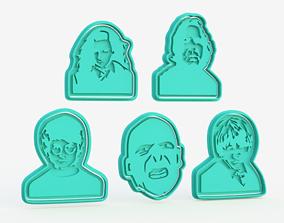 Harry Potter silhouette cookie cutter set 3D print model 1