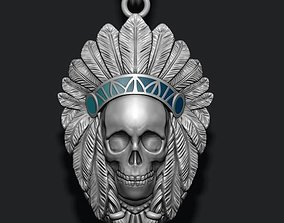 Native skull pendant 3D print model ritual