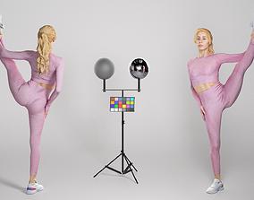 Beautiful woman stretching leg 300 3D asset