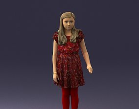 Girl in the red tights and dress 0277 3D model