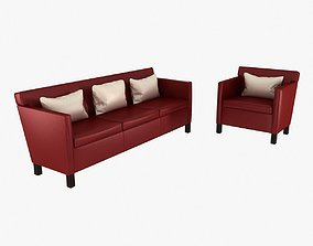 3D model Knoll Krefeld leather sofa and chair