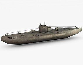3D asset U-boat submarine