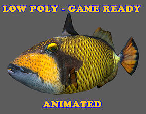 3D asset Low Poly Titan Triggerfish Animated - Game Ready