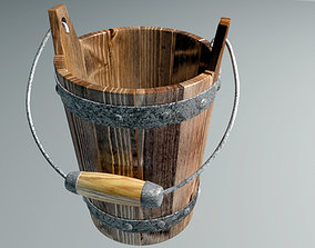 Wooden bucket Low-poly 3D model low-poly