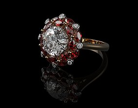 vintag Ruby And Diamond Rings 3D print model