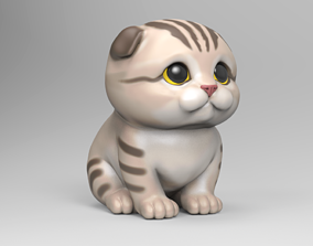 Cute Scottish Fold Kitten STL for 3D print model
