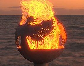 firewood 3D model Bonfire fireplace