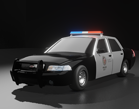 3D asset rigged popo police car