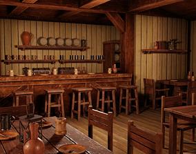 3D asset Medieval Inn with Interior
