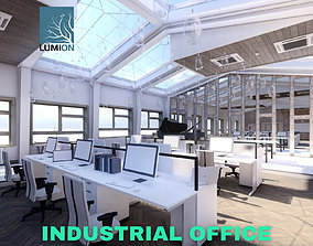 Industrial Office on Attic with Skylights Scene - 3D asset