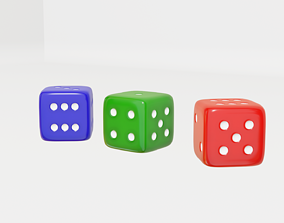 3D Red Green Blue Playing Dice