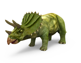 low-poly 3D Green Triceratops dinosaur low poly