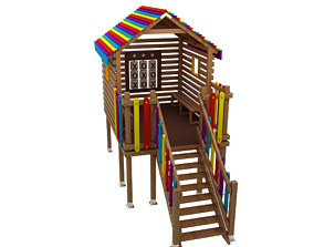 Wooden Colorful PlayHouse Playground Play House 3D model