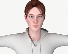 3D asset Young woman rigged