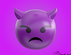Emoji Frowning Face with Horns 3D model