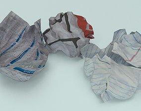 3D asset crumpled paper ball - Game Ready - VR AR
