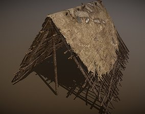 HQ Old Wooden Shelter Made of Branches 3D model game-ready