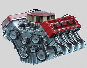 3D model Car engine Animated