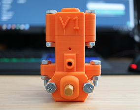 Compressed air engine with flywheel 3D print model