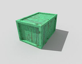 3D model game-ready low poly wooden crate