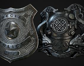 United States Police and Diver Badges 3D asset