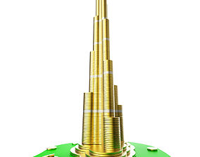 Burj Khalifa building consisting from golden coins 3D