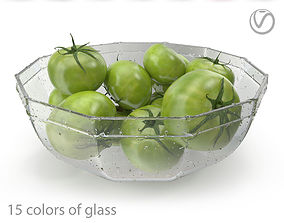 3D model Green tomatoes in a coal glass plate-15 colors of