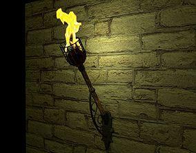 Medieval Wooden Fire Torch 3D model
