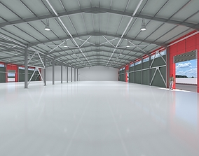 3D model industrial hangar shed with detailed metal