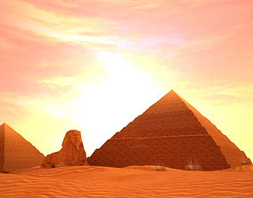 3D model Egyptian pyramids Sphinxes ancient 2