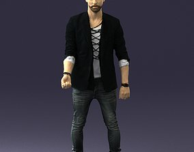 Stylish man in a jacket with a beard 0220 3D Print Ready