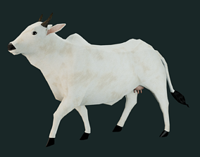 Low Poly Indian Cow 3D model rigged