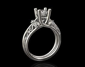 centeral stone ring 3D printable model