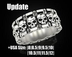 3dprinted Ring skull and stars 3D print model