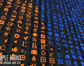 3D model Simple icons -objects arrows and text
