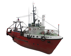 3D model Small-sized fishing trawler VR / AR ready 2